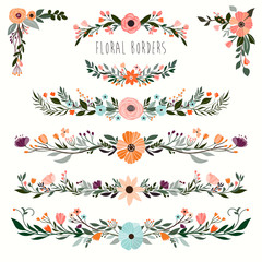 Floral borders collection with hand drawn decorative garland