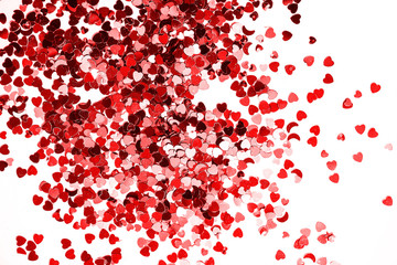 Abstract heart twinkling glitter red on white background, Valentine's day concept