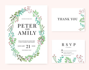 wedding invitation card with flower template pink set