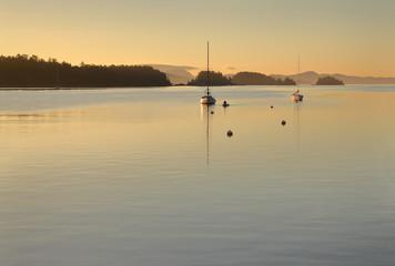 Ganges Harbor, Salt Spring Island Twilight Dawn. Ganges Harbor at dawn on Salt Spring Island. Gulf Islands, British Columbia, Canada.