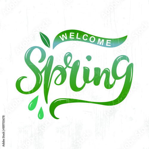 Welcome spring text as logotype badge and icon hand drawn spring welcome spring text as logotype badge and icon hand drawn spring lettering for warm pronofoot35fo Gallery