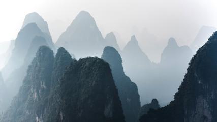 Beautiful mountain landscape in Yangshuo Guilin, China.