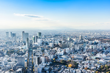 Wall Mural - Asia Business concept for real estate and corporate construction - panoramic modern city skyline bird eye aerial view of Shinjuku & Shibuya under blue sky in Roppongi Hill, Tokyo, Japan