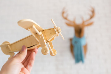 toy airplane in hand
