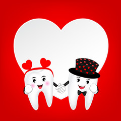Cute cartoon tooth character with heart. Couple in love, Valentine's day concept. Illustration on red background.