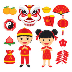 Happy chinese new year decoration traditional symbols set with characters and icons elements isolated on white background.