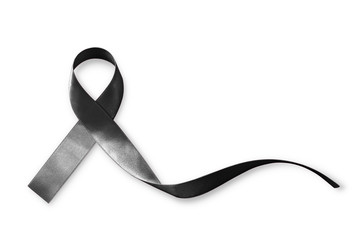 Black Ribbon symbol raising public awareness on Melanoma and skin cancer prevention and mourning for the death loss (bow isolated with clipping path on white background)