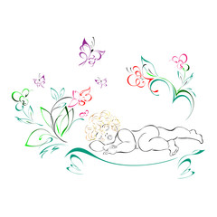 baby 12. child sleeping under flowers