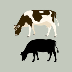 cow vector illustration flat style black silhouette profile view