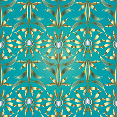 Floral vector seamless pattern. Damask turquoise background with gold silver hand drawn abstract flowers, striped leaves, love hearts, line art tracery ornaments.  Design for wallpapers, fabric, print