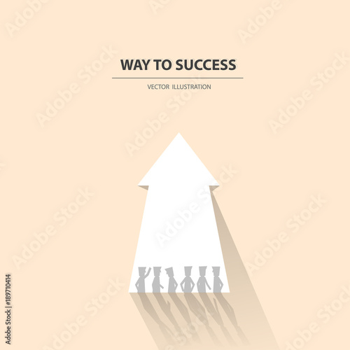 Way To Success Business Concept Of Teamwork And Leadership Business