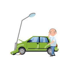 Car bumped at the lamp post, man feeling shocked, car insurance cartoon vector Illustration