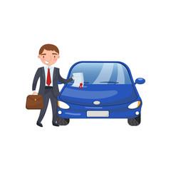Insurance agent showing paper document, car insurance cartoon vector Illustration