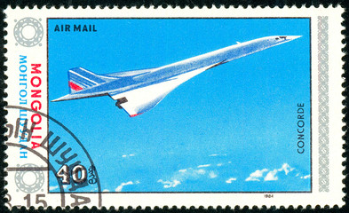 Ukraine - circa 2018: A postage stamp printed in Mongolia show aircraft Concorde. Series: Airplanes. Circa 1984.