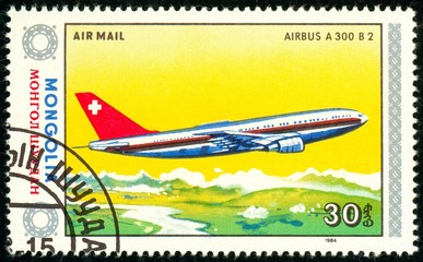 Ukraine - circa 2018: A postage stamp printed in Mongolia show aircraft Airbus A-300. Series: Airplanes. Circa 1984.