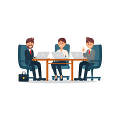 Group of people having conference, business collaboration cartoon vector Illustration