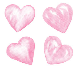 Watercolor valentine illustrations isolated on white. Wreath,pigeons,envelopes,bottle,hearts for romantic,wedding,valentines day design