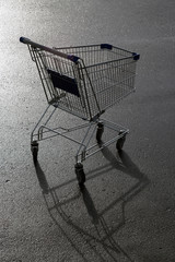 metal trolley for purchases on wet asphalt