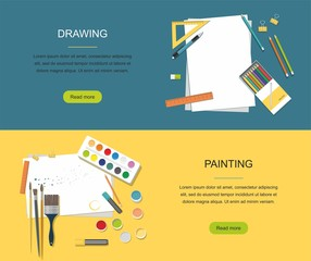 Hobby. Painting, Drawing web banner. Paints, brushes, pencils. Back to school