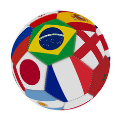 Soccer ball with the color of the flags of the countries participating in the world on football, in the middle Brazil, England, France and Japan, 3D rendering.