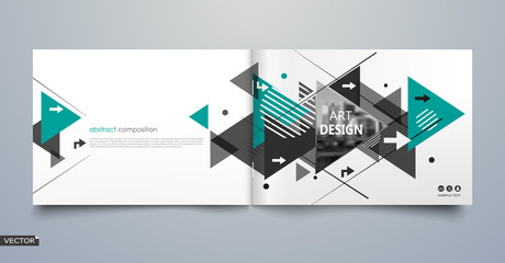 Abstract blurb theme. White brochure cover design. Info banner frame. Fancy ad flyer text font. Title sheet fiber model. Hi tech vector front page. Urban city view texture. Green triangle figure icon