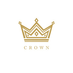 King crown gold logo design. Crown icon in trendy flat style isolated on white background. Vector illustration