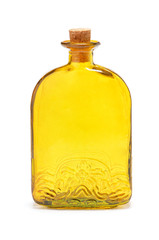Yellow bottle on a white background
