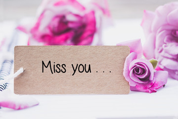 Printed roller blinds Orchid Writing miss you on card