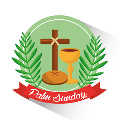 palm sunday badge cross bread cup branch poster vector illustration