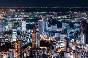 Asia Business concept for real estate & corporate construction - panoramic modern city skyline view of Tokyo Metropolitan Expressway junction with colorful neon night in Roppongi Hill, Tokyo, Japan