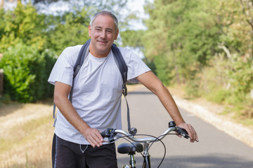 middle age man on a bike