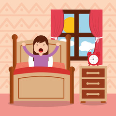 girl in bed waking up in the morning vector illustration