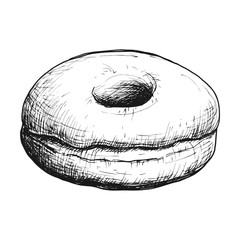 Sketch ink graphic donut illustration, draft silhouette drawing, monochrome on white background. Delicious vintage etching food design.