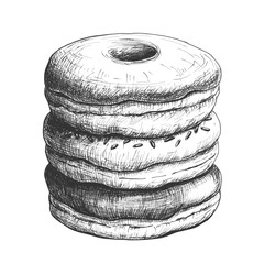Sketch ink graphic donuts pile illustration, draft silhouette drawing, black on white background. Delicious vintage etching food design.