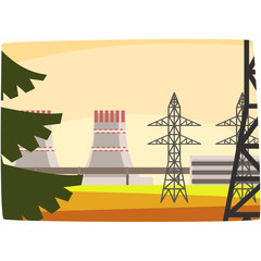 Energy generation power station, powerful nuclear reactor horizontal vector illustration