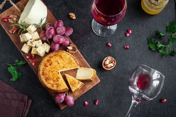 Cheese platter and wine