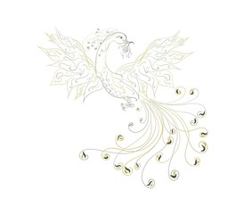 Charming fairytale patterned phoenix with a flower