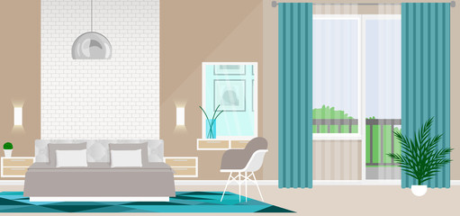 New stylish interior design bedroom with modern furniture and stylish accessories.