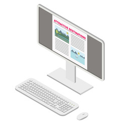 ISOMETRIC PC COMPUTER WITH WEB CONTENT (MOUNTAIN AND SEA IMAGE AS ATTRACTIVE DESTINATIONS) ILLUSTRATION VECTOR
