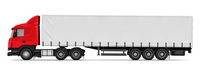 Semi-truck side view profile