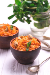 Indian carrot Gajar halwa. Copyspace, horizontal view.