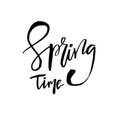 Spring Time - Hand drawn inspiration quote. Vector typography design element. Spring lettering poster. Good for t-shirts, prints, cards, banners.