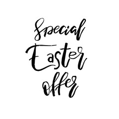Special Easter Offer card with calligraphy text. Vector Template for Flyers, banners, advertise, marketing, promotion. Hand lettering design for Happy Easter Holiday Poster