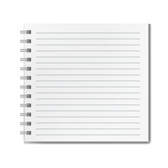 Blank realistic vector square lined notebook with shadow mockup. Notepad with blank opened ruled page on metallic spiral, textbook or organizer mockup for educational or business design