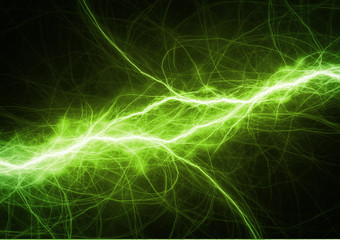 Green power, electrical lightning background