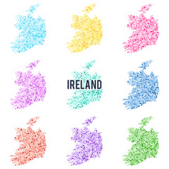 Vector dotted colourful map of Ireland.
