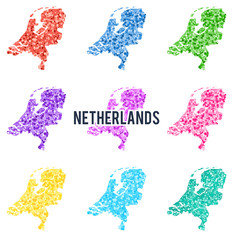 Vector dotted colourful map of Netherlands.