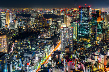 Asia Business concept for real estate & corporate construction - panoramic modern city skyline view of Tokyo Metropolitan Expressway with neon night in Roppongi Hill, Tokyo, Japan