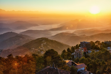Sunrise over Himalayan Mountains Seen from Nagarkot, Nepal