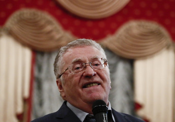 Leader of the Liberal Democratic Party of Russia and presidential candidate Zhirinovsky meets with youth at the Tula State University in Tula